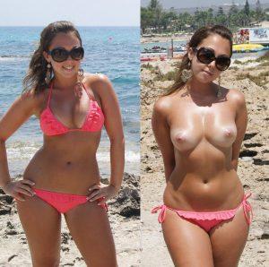 geile ehefrau am strand oben ohne