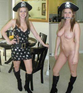 als pirat verkleidete freundin nackt
